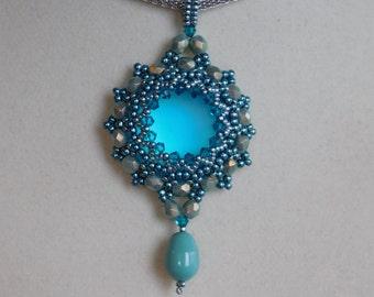 Beaded Pendant Pattern, Pendant Tutorial, Lunasoft Cabochon, Swarovski Bicone, Firepolish Beads, Pearl Drop Beads, Beadweaving, DIY, PDF