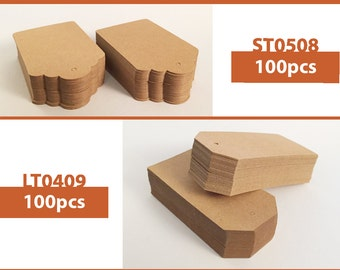 100pcs Natural Brown Kraft Paper Tags (Two Style Choices: Scalloped Top & Luggage)