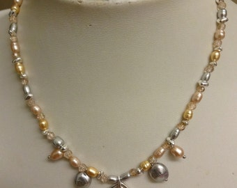 Vintage Monet Cultured Freshwater Pearl & Crystal Necklace (REDUCED)