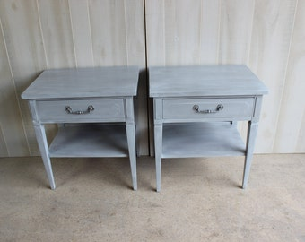 2 NEOCLASSICAL Regency Nightstands GRAY