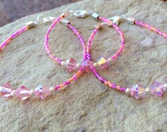 Pink mother-daughter or mother-daughter-grandmother bracelet sets, Swarovski bracelet sets, gift for mom, gift for daughter, gift for wife