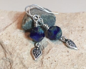Blue drop earrings, blue dangle earrings, Czech glass bead nugget earrings, sundance style earrings, sterling silver drop earrings