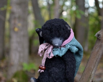 """Artist teddy Bear """"Beata"""", Stuffed Animal Bear, OOAK teddy bear, vintage toy, collection teddy bear, handmade teddy bear"""