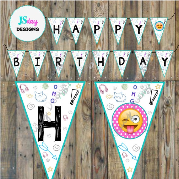 Cute Emoji Printable Birthday Banner Pennant