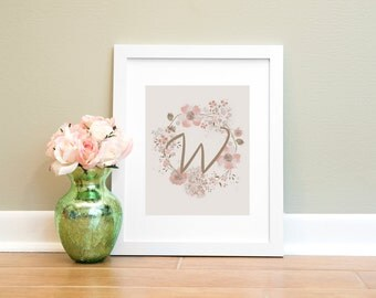 Letter Print W, Monogram Letter W Wall Art Printable, Nursery Art, Home Decor Printable Wall Art, Pink and Brown Letter Print, Floral Print