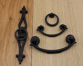 Vintage Dresser Knobs Pulls Black Drop Ring Pulls Handles / Cabinet Handle  Pull Knob Drawer Knobs