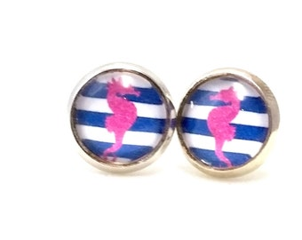 Earrings silver seahorse pink earrings maritim cabochon 10-12 mm glass Pearl Jewelry handmade