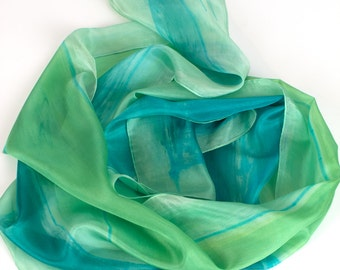 Silk scarf handpainted in green. Abstract silk scarf in geometry mood. Fresh green scarf. Summer scarf. Long fashion scarf. Christmas gift