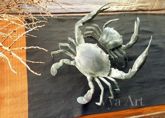 Green crab sculpture crab decor bronze beach decor nautical
