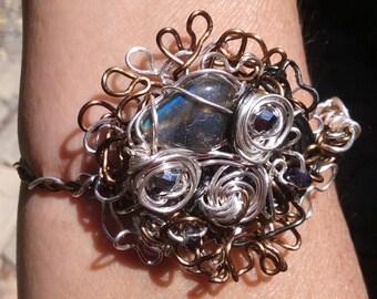 "Wire Jewelry, Bracelet, Handmade- Labradorite, Crystal, Spiral, Silver, Bronze, Design (L- 8"")"