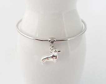 Dachshund bangle bracelet with Swarovski crystal bail