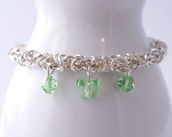 Green butterfly Swarovski crystal  byzantine weave chain maille bracelet