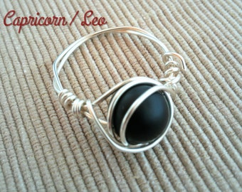 Silver Wire Black Onyx Ring,Handmade Onyx Ring,Gemstone Ring,Wire Ring,Silver Wire Ring,Wire Wrapped Ring,Bohemian,Black Onyx