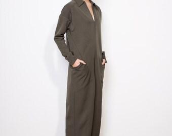 Fina sale, Winter jumpsuit, Khaki jumpsuit, Military jumpsuit, Oversized jumpsuit, Green jumpsuit, Pockets jumpsuit