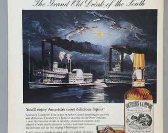 1980 Southern Comfort Print Ad - Steamboats