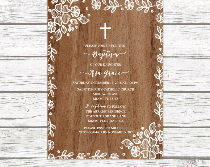 Wood White Lace Border Floral Baptism Christening Invitation, Girl First Communion Boho Vintage Cross Invite, Rustic Printable Invitation