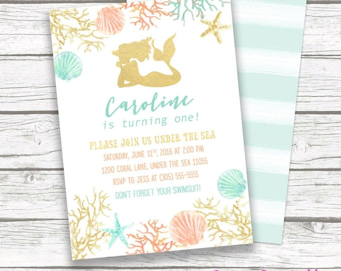 Mermaid Invitation, Mermaid Birthday Invitation, Under the Sea Theme, Gold Foil Mermaid Silhouette, Girl 1st First Birthday Party Printable