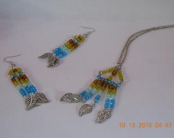 Beaded Triangular Necklace Earring Set