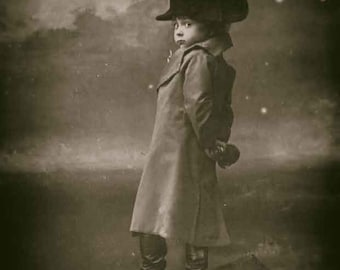 Vintage photo antique photograph boy child children posing as Napoleon 1900s- PRINT
