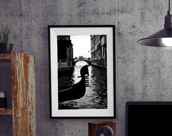 Venice Gondola, Venice Black And White, Fine Art, Italian Decor, Gondolas, Canals, Water Reflection, Nautical Art, Gondola Print, Wall Art