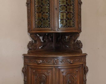 Antique French Hunt Corner Cabinet 19th Century BEAUTIFUL Carved Model #7070