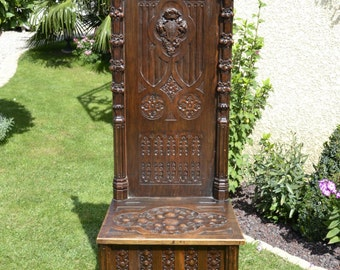 RARE Antique French Gothic Bench Special Narrow Well Carved Model Lions and More #5630