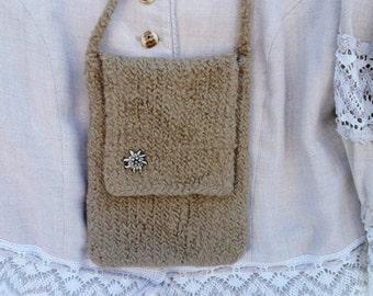 El Burro felt bag women's bag 100% wool 15.5 x 20 cm Shoulder bag Costumes Rustic house Edelweiss bag Beige