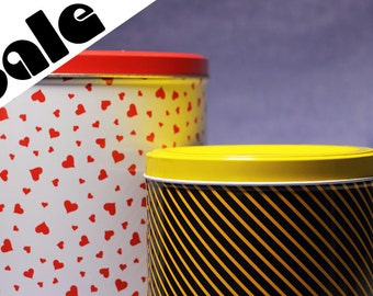 80s Tin Box Red Hearts Yellow Neon Stripes