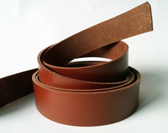 "50"" Cognac Veg Tanned Leather Strap, Genuine Italian Vegetable Tanned Leather 2 mm Strips Cognag Color, Cow Hide Leather Strips"