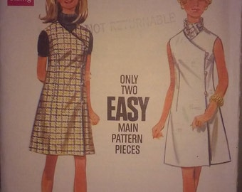 Vintage 1960s Wrap Dress Sewing Pattern - Size 12 (Small) - Original with Envelope