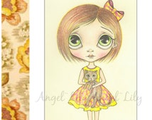 Big Eyed Cat Lady Art Print - Childrens Artwork, Cute Kitten, Yellow & Pink, Pop Surrealism, Big Eyes, 5x7 Pencil Drawing By Nicole Clements