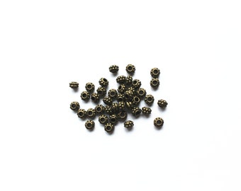 40pcs Antique Brass Tone Base Metal Beads 5mm x 7mm, Brass Beads, Jewelry Findings, Beading Suppliers, Jewelry Suppliers
