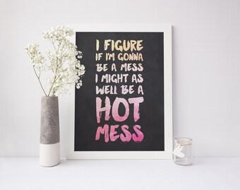 Mindy Kaling, Hot Mess Typography Print 2 - 8x10