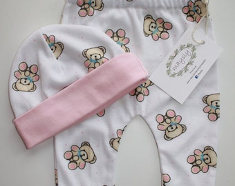 Teddy Bear Leggings & Hat Set