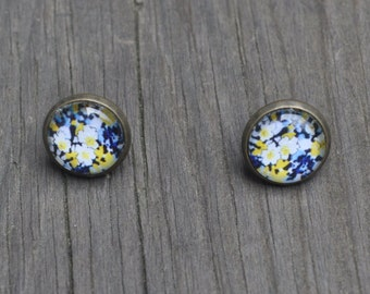 Blue, white & yellow floral 12mm studs