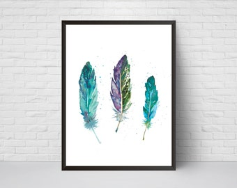 Feather Watercolor Print, Blue Feather Decor, Printable Modernism art poster, Feathers Art, Teal Blue Print
