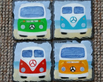 Camper Van Coaster Set - Slate - Handpainted