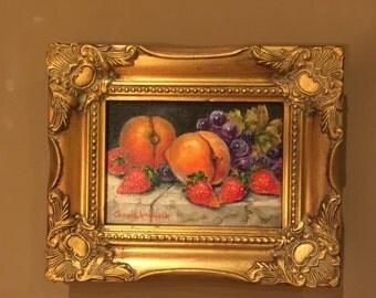 Original Oil Painting by Carol Ann Hick Fruit on Marble Slab