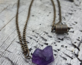 Raw Amethyst Pendant, Rough Stone Necklace, Rough Amethyst Necklace, Natural Stone Jewelry, Amethyst Pendant, Reiki Healing, Nickel Free