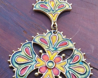 Floral Enamal Necklace, Maltese Cross Pendent, Enameled Flower Cross Necklace, Rainbow Color Cross Necklace