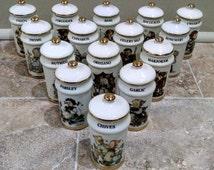 Hummel Spice Jars - Set of 15 - Porcelain China with Gold Trim - 1987 Collection - Vintage