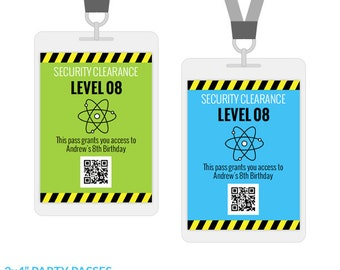 Science Party VIP Passes, All Access Party Badges, Printable Birthday Decorations, Editable Text, Personalize with Adobe Reader