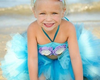 Lux Mermaid Toddler Costume - Custom mermaid top and walkable! aqua and purple or green and purple like Ariel from The Little Mermaid