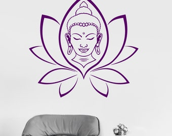 Wall Vinyl Decal Buddha Yoga Lotus Meditation Decor 2386di