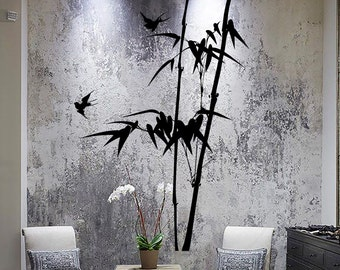 Wall Vinyl Decal Tree Bamboo Outline with Branches and Birds Modern Decor Living Room Center Focal Point (#1055dz)