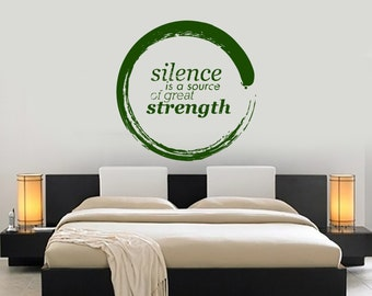 Wall Vinyl Decal Quote Silence is Strength Modern Decor Living Room Center Circle Focal Point (#1072dz)