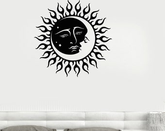 Wall Vinyl Decal Bedroom Decoration Sun and Moon Kissing Romantic Ornament Modern Home Decor (#1002da)