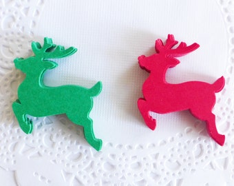 Christmas Reindeer, Red and Green Reindeer, Christmas Table Decor, Table Scaters, Cristmas Tree Ornaments