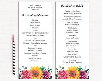 Boho wedding program printable Floral ceremony program Botanical wedding Unique program diy Watercolor wedding Spring program template 1W50