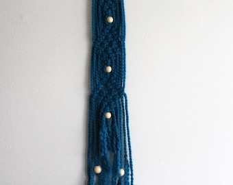 Teal Blue Yarn Macrame Wall Hanging with beads